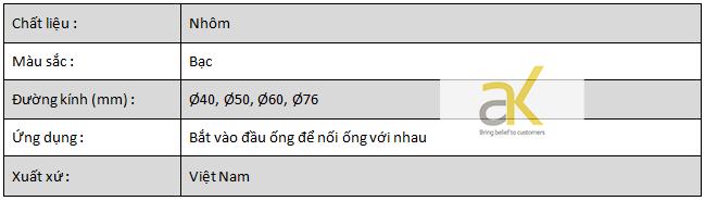 Thông số kỹ thuật của bộ khớp nối xoay