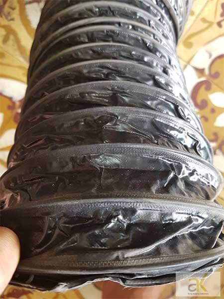 Ống gió bụi simili lõi thép được làm bằng chất liệu vải simili