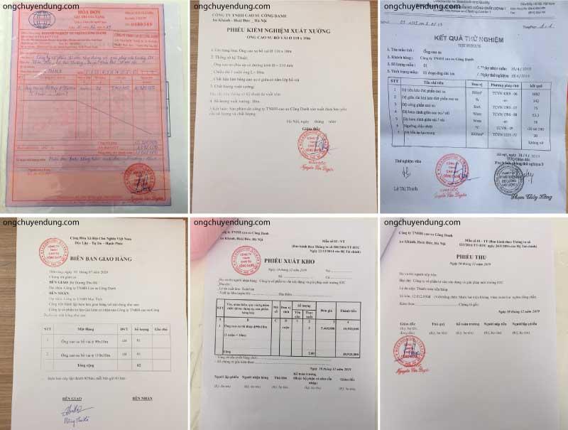 Hóa đơn mua hàng đầy đủ bao gồm: hóa đơn đỏ, CO, CQ, biên bản giao hàng, phiếu xuất kho, phiếu thu