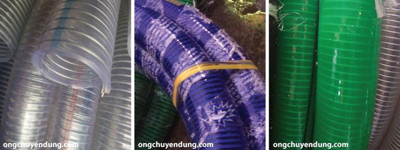 Ống nhựa mềm lõi thép Hàn Quốc màu trắng trong, màu xanh tím và màu xanh lục