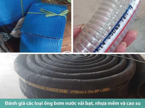 Đánh giá các loại ống bơm nước vải bạt, nhựa mềm và cao su